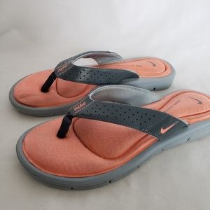 Ladies soft sole flip flops sandals peach gray